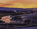 Sunset view of Firehole River and Geysers in Old Faithful Area