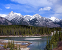 Bow River with Canadian Rocky Range Background