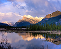 Mount Rundle Reflected in Vermillion Lake at sunset