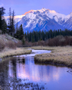 Cascade Mountain Reflected in Vermillion Lakes during sunset
