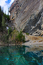 Grassi Lake with cliff climbers