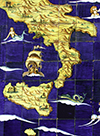 Ceramic Mosaic Featuring Amalfi Mariner Map of Sicily