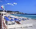 Nice Beach with  Promenade des Anglais on left and Bay of Angels