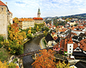 Fifth Courtyard Panoramic View of Vltava River, Foot Bridge,Village, and Sumava Mountains