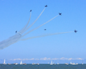 Navy Blue Angels Split Formation over Lake Michigan