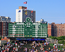 Cubs Victory over Boston and Wrigley Field Score Board with
