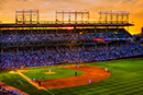 Panoramic Sunset at Wrigley Field-Cubs vs Pirates
