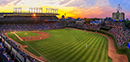 Wrigley Sunset Wide Angle Panorama of Cubs vs. Pirates